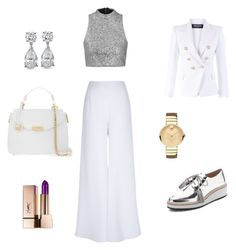 """Untitled #56"" by eva-skok on Polyvore featuring River Island, Loeffler Randall, Versace, Balmain, Topshop, Yves Saint Laurent and Movado"