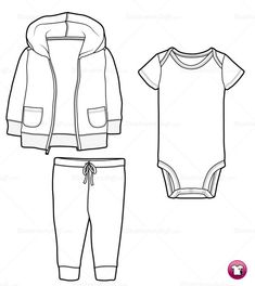 This fun, baby/infant/toddler hooded zip up jacket / sweatshirt, shortsleeve onesie and drawstring pantsfashion sketch templateincludes flatswith prints &amp