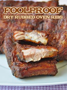 Foolproof Dry Rubbed Oven Ribs - a very easy, slow cooked, succulent, dry rubbed pork ribs recipe. Lots of time is required but absolutely no skill is  involved. It is practically impossible to overcook these ribs.
