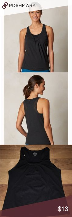 prAna Mika top small NWOT Worn once, too form fitting for my workout taste. It's designed for layering with a soft burnout fabric and a blouson silhouette. A double layer racerback and slight shirring at the neckline. prAna Tops