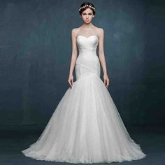 Cheap mermaid wedding gowns, Buy Quality wedding gowns directly from China sexy mermaid wedding gown Suppliers: Vestido de Noiva Strapless Mermaid Wedding Dresses Pleated Bodice Sexy Mermaid Wedding Gowns Wedding Dress Brands, Western Wedding Dresses, Wedding Dresses With Flowers, 2016 Wedding Dresses, White Wedding Dresses, Wedding Gowns, Dresses 2016, Robes Western, Ruched Wedding Dress