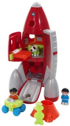 ELC Lift Off Rocket, this huge set includes 2 astronauts, an alien, a space dog, and space buggy. Interactive sounds and lots of little compartments to explore make this a winner of a gift.