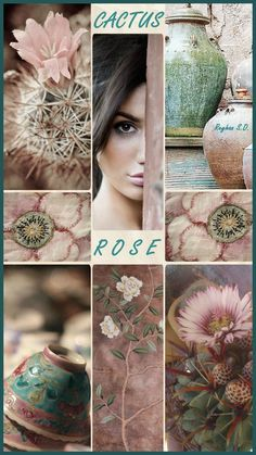 '' Cactus Rose '' by Reyhan S. Paint Color Schemes, Colour Pallete, Color Combos, Paint Colors, Pink Green Wedding, Pink And Green, Cactus Rose, Cactus Cactus, Color Collage