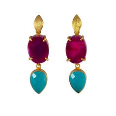 These standout Colour Drop Cocktail Earrings are the perfect accessory to make a colourful statement. The stunning purple agate slices and the unique colour of the turquoise onyx stones are beautifully contrasted against 18ct gold plated vermeil on sterling silver. No two semi-precious gemstones are the same adding to the uniqueness of your piece. The differences in the purple agate slices have been carefully selected to give a unique fashion forward edge to your piece. Avoid direct contact with Semi Precious Gemstones, Natural Gemstones, Pink Earrings, Drop Earrings, Purple Agate, Carat Gold, Luxury Jewelry, Agate Slices, Women Jewelry