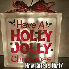"Glass Block Light ""Holly Jolly Christmas"""