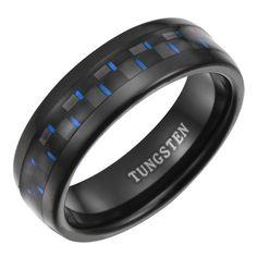 Amazon.com: New Mens 7mm Black Tungsten Ring With Blue Carbon Fiber In Black Velvet Ring Box By Willis Judd: Willis Judd: Jewelry