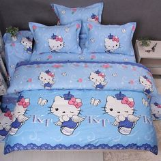 Hello Kitty Bedroom, Blue Comforter Sets, Miss Kitty, Hello Kitty Items, Hello Kitty Collection, Bedroom Accessories, College Dorm Rooms, Duvet Cover Sets, Baby Toys