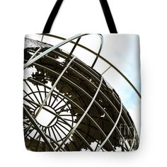 "World Globe at Columbus Circle NYC Tote Bag by Regina Geoghan (18"" x 18"").  The tote bag is machine washable, available in three different sizes, and includes a black strap for easy carrying on your shoulder.  All totes are available for worldwide shipping and include a money-back guarantee."