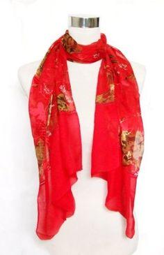"""Chiffon/Satin Dark Gold Floral Print on Red - Silk Long Scarf 21"""" x 68"""" Silkcharm. $20.95"""