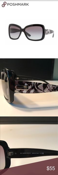 BURBERRY Sunglasses Black / Gray Lenses BURBERRY Sunglasses Black with Gray gradient lenses. Black and gray Burberry plaid floral design on arms. Perfect condition. No scratches. Burberry Accessories Sunglasses