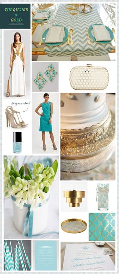 STUNNING Turquoise + Gold inspiration on REVEL today! These will be my wedding colors. Only maybe tiffany blue instead of turquoise.