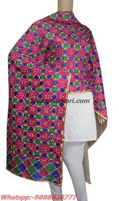 Cotton Bagh Phukari Dupatta Exclusive Handicraft Phukari Code - JDB1254