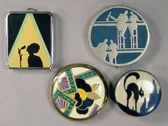 Group of Four Art Deco Pictorial Compacts