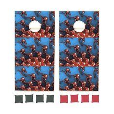 Fancy Blue Red Abstract Cornhole Sets | Zazzle ($243) via Polyvore