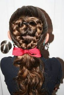 Flip Braided Heart.  A Valentine's day hairstyle.