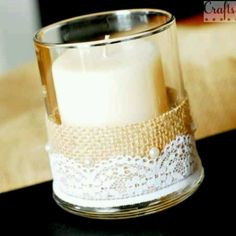 BURLAP+LACE Burlap and Lace Candle Vase tutorial--elegant and rustic meet. Sort of like the bride and groom--so different but together they are lovely. Burlap Candles, Beeswax Candles, Burlap Wedding Decorations, Candle Decorations, Burlap Lace, Burlap Crafts, Lace Weddings, Wedding Dresses, Rustic Wedding