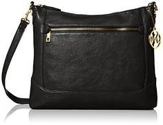 Emilie M. Stacy Top Zipper Hobo Convertible Cross Body, Black, One Size -- Details can be found at