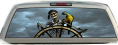 """Pirate Parrot 17"""" x 56"""" Rear Window Graphic Tint Decals 