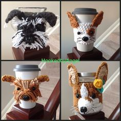 Crochet cozies designed to resemble different dog breeds.  #hookedbyangel