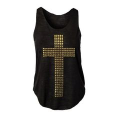 Choies Black Tank With Cross Sequin ($14) ❤ liked on Polyvore featuring tops, shirts, tank tops, blusas, black sequin tank, cross tank, black shirt, shirts & tops and black top