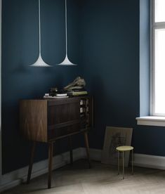 Interiors by GUBI, blue walls yes Interior Paint, Interior And Exterior, Interior Design, Interior Office, Dark Interiors, Colorful Interiors, Murs Turquoise, Teal Paint, Teal Walls