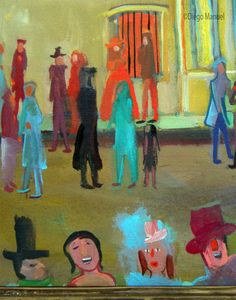"""""""Casa de Tucumán"""" ,acrílico sobre lienzo, sin marco 54 x 66 cm., 2016. Cuadro en venta de la Serie Historia Argentina del artista plastico Diego Manuel"""