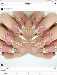Neutral Nail Designs, French Nail Designs, Neutral Nails, Nail Art Designs, Glam Nails, Fancy Nails, Bride Nails, Wedding Nails, Long Stiletto Nails