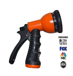 Garden Hose Nozzle - 12 Month No Quibble Money Back Guarantee - 8 Pattern Orange Adjustable Plastic Water Sprayer Gun - Comfort Rubber Pistol Trigger Grip - Use On Lawn & Garden, Plants, Home, Or Car/Automotive Wash - The Ultimate Hand Held Garden Hose Attachment - FREE 59 page e-book (how to get your e-book ghost written for you). NPB Trading Online As Seen On: CBS NEWS, FOX, NBC & ABC - ARE YOU FED UP WITH BUYING CHEAP UNRELIABLE HOSE NOZZLES? NPB Trading Online &#8