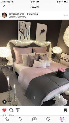 bedroom Source by Dream Rooms, Dream Bedroom, Girls Bedroom, Bedroom Decor, Bedroom Ideas, Awesome Bedrooms, Beautiful Bedrooms, Cute Room Ideas, Creation Deco