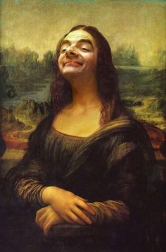 Mona Lisa highjacked by Mr Bean! I'm not exactly sure why this crazy photo-manipulation of Mr Bean as Leonardo Da Vinci's Mona Lisa has. Mr. Bean, Mona Lisa Parody, Mona Lisa Smile, Illustrator, Caricature Artist, Caricature Photo, Photocollage, Classic Paintings, Funny Art