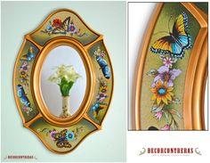 "Gold Handmade Oval wall Mirror, ""Andean Princess""- Peruvian Handicrafts- Decorative Wall Mirror in green background- Ornate Bathroom Mirrors"