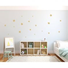 Big white polka dot wall decals placed in a pattern on a grey wall in a children's room with a bed, cabinet, and art board. Polka Dot Nursery, Polka Dot Walls, Polka Dot Wall Decals, Wall Stickers, Big Girl Bedrooms, Teen Girl Rooms, Striped Room, Kids Room Wall Decals, Neutral