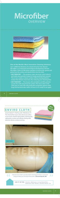 Norwex #microfiber is 1/200th the size of a human hair and can hold up to 7 times its weight in matter. As you wipe the surface, the microfibers attract and draw up even the smallest particles of dust, trapping them in the fibers. Norwex Microfiber, when used wet, lifts particles up into the cloth and away from the surface. Once inside the cloth, the micro silver in the cloth goes to work with self-purification properties against mold, fungi and bacterial odor within 24 hours.