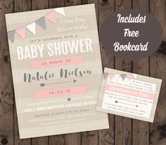 Girl Baby Shower Invitation and Book card Combo by WeeBabyShower on Etsy