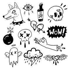 Trippy Drawings, Mini Drawings, Tattoo Design Drawings, Tattoo Sketches, Tattoo Designs, Kritzelei Tattoo, Doodle Tattoo, Doodle Art, Mini Tattoos