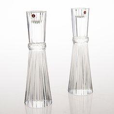 "Tapio Wirkkala - Art glass candleholders ""Pallas"" (h. cm) for Iittala, Finland. Retro Design, Design Art, Glass Candlesticks, Modern Glass, Bukowski, Glass Design, Household Items, Scandinavian Design, Lassi"
