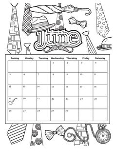 Summer Coloring Pages, Coloring Pages For Girls, Coloring Pages To Print, Coloring Book Pages, Printable Coloring Pages, Coloring Sheets, July Calendar, Kids Calendar, Calendar Pages