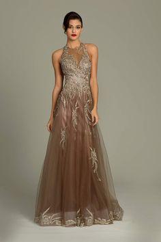 Jovani open back lace gown