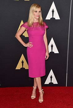 Jennifer Aniston, Reese Witherspoon, and More Shine on the Red Carpet at the 2014 Governors Awards Celebrity Red Carpet, Celebrity Style, Fashion Advice, Fashion News, Reese Whitherspoon, Reese Witherspoon Style, Pink Dress, Dress Up, Red Carpet Looks
