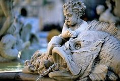 rome italy fountains and sculptures | sculpture, fish with cherub, Neptune Fountain, Piazza Navona, Rome ...