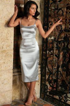 Silver Grey Sleeveless Bodycon Evening Cocktail Midi Dress - Women