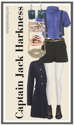 I actually don't love the shorts but the outfit is pretty great, the accessories are killer!    Captain Jack Harkness   Doctor Who / Torchwood by chelsealauren10