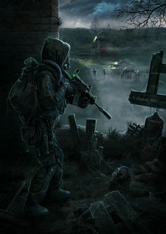ArtStation - In the shadow, Igor Solovyev Apocalypse Character, Apocalypse Art, Fantasy Landscape, Fantasy Art, Post Apocalyptic Art, Military Drawings, Fallout Art, Futuristic Art, Fanarts Anime
