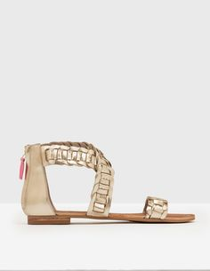 #Boden Eleana Woven Sandal Pale Gold Metallic Women #Intricately woven leather transforms these sandals into footwear youll never want to take off (good job we made them extra comfortable, then). Your feet will feel secure and supported all day long by the straps across the toes and around the ankle, as well as the zip-up back.