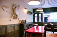 Restaurant Design - Upcycle - Panelling - Red Table - Wall - Sculpture - Decoration - Wood Floor - Gallagher's Boxty House, Temple Bar Dublin, by Think Contemporary