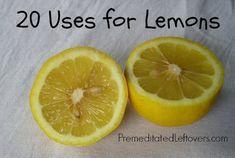 20 uses for lemons including household tips, cleaning tips, and beauty tips using lemons.