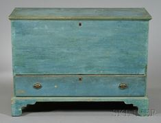 Light Blue-painted Pine Chest over Drawer   Sale Number 2567B, Lot Number 478   Skinner Auctioneers