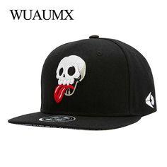 Wuaumx Snapback Caps Men Women Embroidery Skull Tongue Baseball Cap Hip Hop  Casquette Chapeau Bone Masculino 1d7d41289620