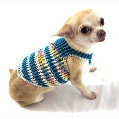 Boy Dog Clothes Dog Harness Vest Striped Blue No Pull Dog Harnesses Leash Pet Walking Cotton Hand Crochet DH18 Myknitt - Free Shipping