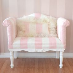 Superior Darling Pink U0026 White Striped Microsuede Bench $985.50 #thebellacottage  #shabbychic #handmade